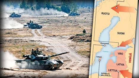 Suomalaiset taistelijat, Lapin karu maasto sekä yllätyselementin puute tekevät asiantuntijoiden mukaan mahdottomaksi sen, että venäläispanssarit vyöryisivät kolmessa päivässä Lapin yli. Kuvassa venäläisiä ja valkovenäläisiä panssarivaunuja Zapad-sotaharjoituksessa vuonna 2009.