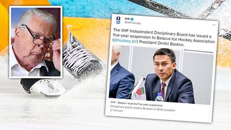 Valko-Venäjän jääkiekkoliiton puheenjohtaja Dmitri Baskov (oik.) sai IIHF:ltä peräti viiden vuoden toimintakiellon. Rangaistus on pisin IIHF:n langettama toimintakielto, jonka Kalervo Kummola (vasen yläkulma) muistaa pitkältä jääkiekkovaikuttajan uraltaan.