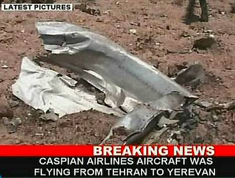 Caspian Airlines -lentoyhtiö kone syöksyi pellolle Luoteis-Iranissa keskiviikkoaamuna.