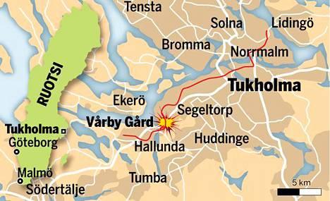 Räjähdys tapahtui Vårby Gårdin metroaseman lähellä.