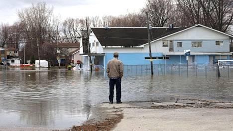 Tulvavettä Gatineaussa, Quebecissä 24. huhtikuuta 2019.