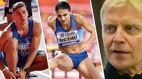 Elmo Lakka ja Nooralotta Neziri edustivat Suomea MM-Dohassa. Arto Byrggare (oik.) on ex-huippuaituri.