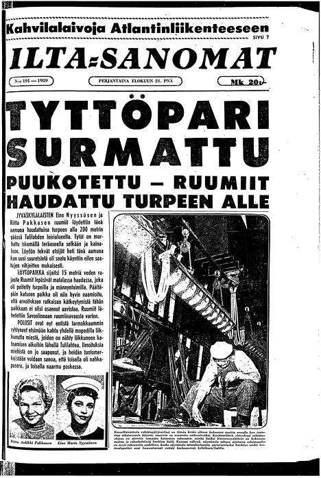 Ilta-Sanomat kertoi tapauksesta 21.8.1959.