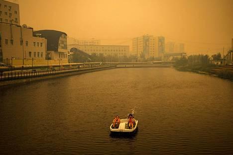 Jakutskin kaupungissa ilma on savun värjäämä.