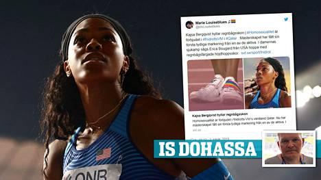 Erica Bougard kilpaili Dohan MM-kisoissa kengissä, joita koristaa seksuaalivähemmistöjen tunnettu symboli, sateenkaaritunnus.