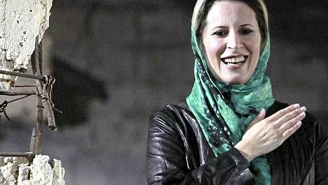 Aisha Gaddafi viime huhtikuussa.