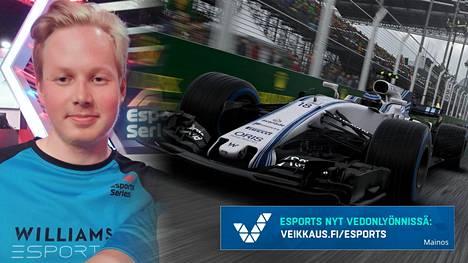Tino Naukkarinen edustaa F1 Esports -sarjassa Williamsia.