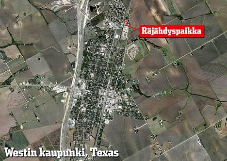 Räjähtänyt West Fertilizer -lannoitetehdas sijaitsee pienen Westin kaupungin koillisreunalla.