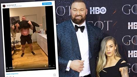 Maailman vahvimman tittelin voittanut Hafthor Julius Björnsson käytti vaimoaan painona treenivideolla. Avioparilla on pituuseroa lähes puoli metriä.