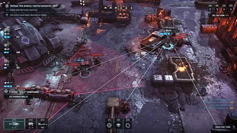 Vuorossa olevalla gear-soturilla on muutama mahdollinen ampumalinja. Punaiset alueet kuvaavat reaktiotulta ampuvia vihollisia, joten niiden sisällä on paha olla.