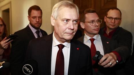 Antti Rinne eduskunnassa tiistaina.