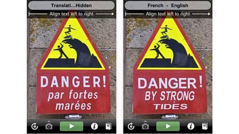 Ranskasta englanniksi käännetty varoituskyltti.