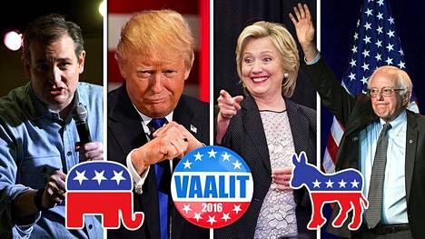 Republikaanit Ted Cruz ja Donald Trump vasemmalla ja oikealla demokraatit Hillary Clinton ja Bernie Sanders.