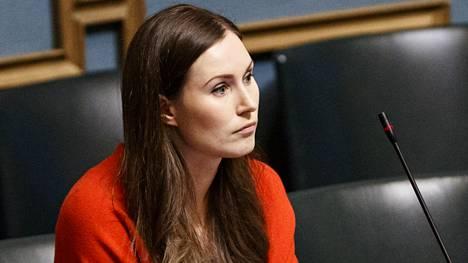 Pääministeri Sanna Marin eduskunnan täysistunnossa.