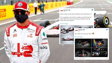 Alfa Romeon Kimi Räikkönen poseerasi Silverstonen radalla torstaina uuden F1-automallin julkistustilaisuudessa.