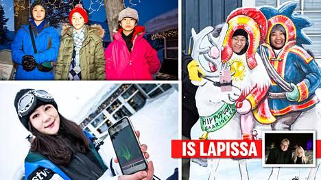 Aasialaisturisteja on paljon Lapissa.