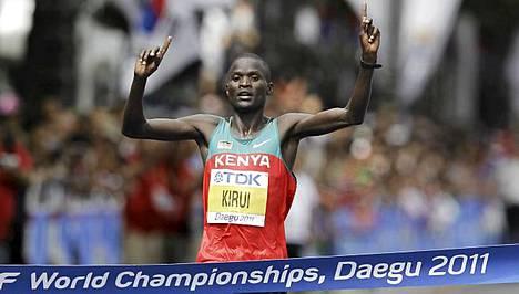 Abel Kirui juoksi maalin ylivoimaisena ykkösenä.