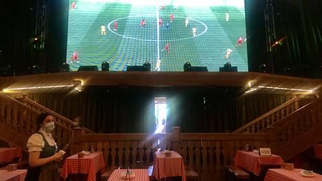 Alpenhausissa on valtavat sisätilat ja useita tv-ruutuja sekä yksi jättiscreeni.