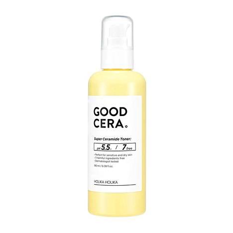Holika Holikan Good Cera Super Ceramide Toner -kasvovesi sisältää keramideja ja lupaa kosteuttaa, rauhoittaa ja vahvistaa ihon suojaa, 21,90 €, mm. Stockmann.