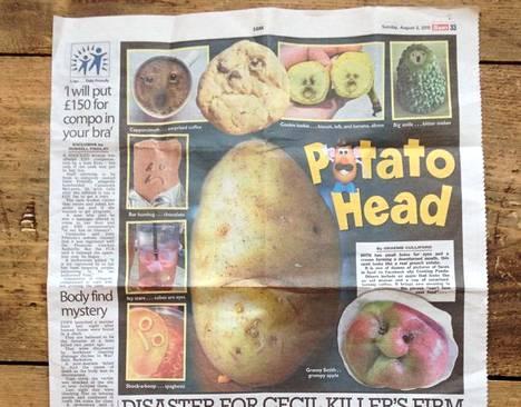 """Viime sunnuntaina brittiläisessä The Sun -lehdessä oli artikkeli """"naamoista"""". Eeva sai lehtileikkeen tuliaisina."""