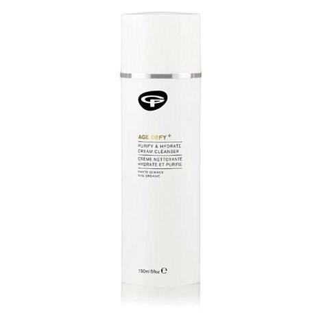 Ikääntymisen merkkejä vähentävä ja kosteuttava puhdistustuote sisältää hibiscusta. Green People Age Defy+ Purify & Hydrate Cream Cleanser, 39 €, Kosmetiikkataivas.fi.
