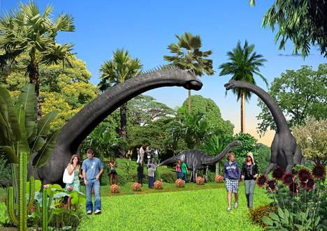 Onkohan tuossa Alamosaurus? Vai Apatosaurus? Argentinosaurus? Jurase Parkin konseptikuvitusta.