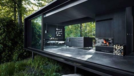 Modernin talon sisustus on musta, mutta ei liian synkkä.
