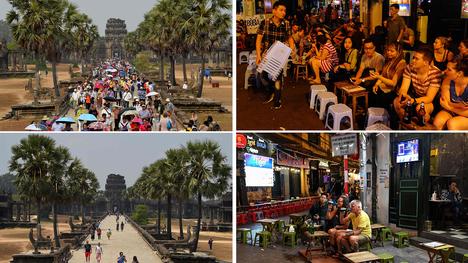 Suositut turistikohteet näyttävät autioilta maaliskuussa 2020. Kuvissa Angor Watin temppelialue Kambodžassa ja Hanoin vanhakaupunki Vietnamissa.