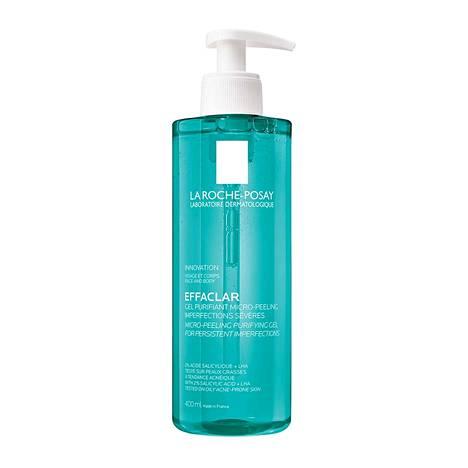 La Roche-Posayn Effaclar Micropeeling Gel -suihkugeeli kuorii ihoa hellästi samalla kun se pesee sitä, 24,90 € / 400 ml.