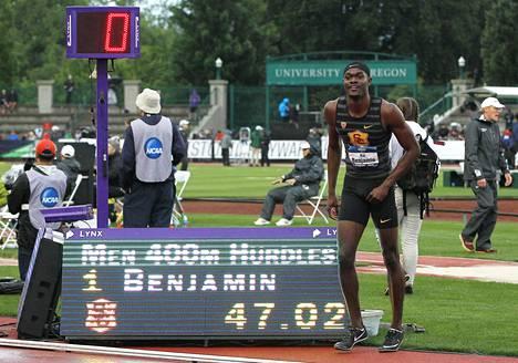 Rai Benjamin pinkoi historian toiseksi kovimman ajan lauantaina Eugenessa. Edwin Moses juoksi saman ajan 47,02 vuonna 1983.