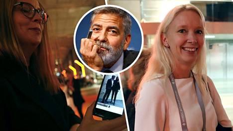 Pia (vas.) ja Taru pääsivät tapaamaan George Clooneyta.