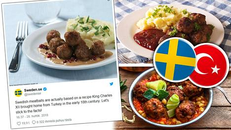 Niin kutsutut ruotsalaiset lihapullat ovatkin turkkilaista alkuperää.