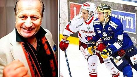 Juhani Tamminen (vas.) kommentoi tuoreen HIFK-hankinnan Juhani Tammisen (oik.) valitsemaa pelinumeroa.