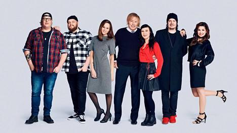 Vain elämää -ohjelman kahdeksannelle kaudelle osallistuvat Arttu Wiskari (vas.), Kasmir, Terhi Kokkonen, Danny, Mira Luoti, Aki Tykki ja Sani.