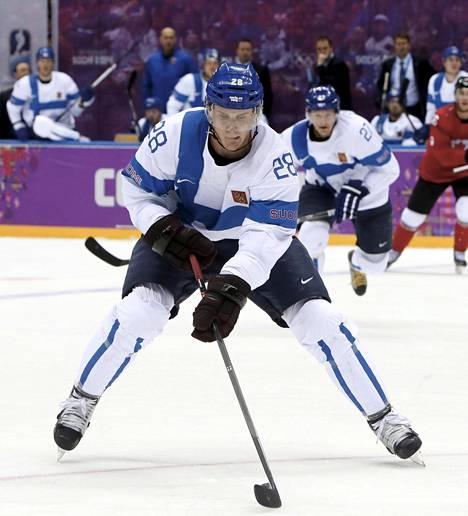 Lauri Korpikoski pelasi Leijonissa Sotshin olympiaturnauksessa 2014.