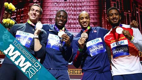 Pika-aiturit Sergei Shubenkov (vas.), Grant Holloway, Pascal Martinot-Lagarde ja Orlando Ortega saivat MM-mitalit torstaina. Ortegan pääsyä pronssimitalille kummasteltiin laajasti.
