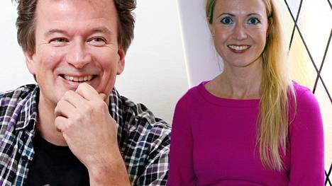 Kjell Westö ja Eveliina Talvitie seurustelevat.