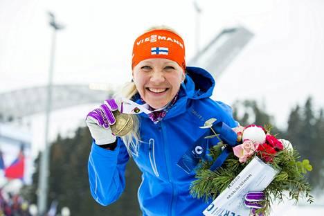 Jussi Eskola välitti mm. Kaisa Mäkäräisen MM-pronssitunnelmat kotisohville ampumahiihdon MM-kisoista Oslosta.