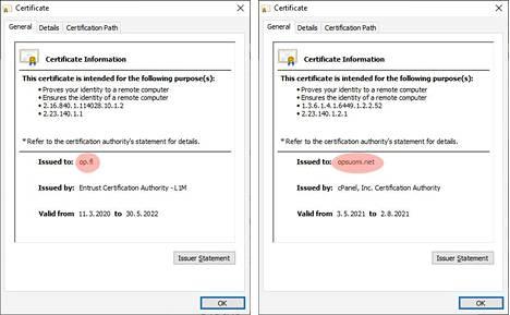 Aidossa OP:n varmenteessa (vasemmalla) lukee op.fi, oikealla olevassa huijauksessa sitä ei ole. Sivun varmenteen saa näkyviin selaimen osoiterivissä olevaa lukkoa näpäyttämällä.