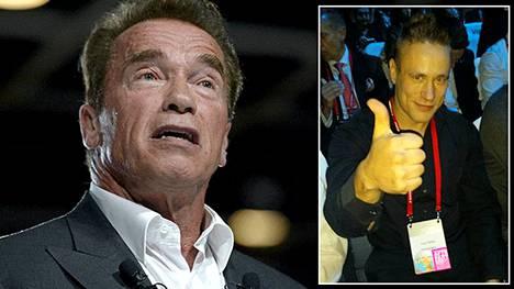 Varustelekan myyntitirehtööriksi itseään tituleeraava Turo Heino tapasi eilen Arnold Schwarzeneggerin Nordic Business Forumissa.
