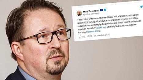 THL:n terveysturvallisuuden johtaja Mika Salminen kysyy Twitterissä, kuka tekisi sovelluksen, jonka kautta suomalaiset voisivat ilmoittaa reaaliaikaisesti hengitystieoireistaan ja jossa sijainti tallentuisi Suomen kartalle.