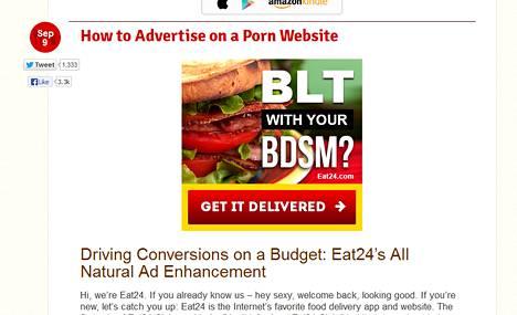 Eat24 on mainostanut muun muassa verkon pornosivuilla.