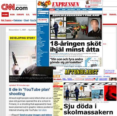 Maailman nettilehdet ottivat Jokelan koulusrmat ykkösaiheekseen keskiviikkona.