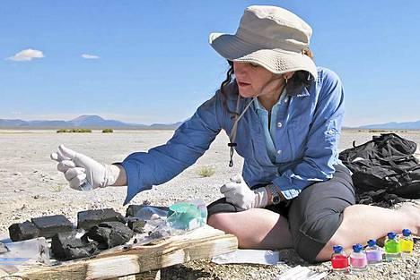 Felisa Wolfe-Simon ottamassa näytteitä arseenijärven rannalta.