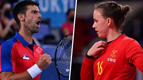 Jessica Ryde katuu käyttäytymistään tennistähti Novak Djokovicin edessä.
