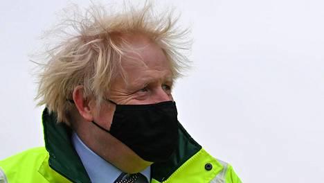 Britannian pääministeri Boris Johnson Manchesterissa torstaina.