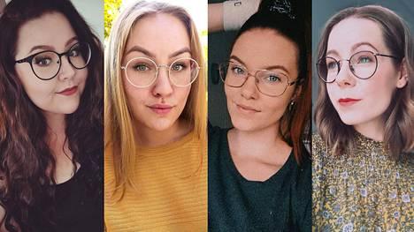 Esimerkiksi Tiia, Ronja, Riina ja Emmi kertovat, miksi tietyt kehykset ovat päätyneet nenälle. Pyöreät muodot, suuret linssit ja ohuet metallikehykset korostuvat nyt silmälasityyleissä.