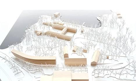 Pienoismalli uusista suunnitelmista. Pitkä hotellirakennus näkyy kuvan vasemmassa alareunassa.