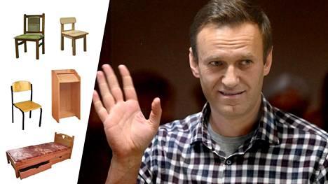 Aleksei Navalnyi kuvattuna oikeudenkäynnissään Moskovassa. Vankileirillä, jolle hän on lähteiden mukaan joutumassa, valmistetaan mm. puuhuonekaluja.