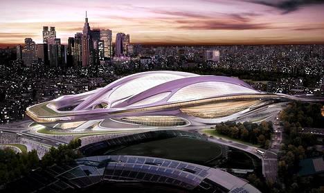 Taiteilijan hahmotelma Tokion uudesta National Stadiumista, joka tulee olemaan Tokion olympialaisten 2020 päänäyttämö. Brittiarkkitehti Zaha Hadidin suunnittelemassa avaruusaikaisessa luomuksessa on mm. kokoonvedettävä katto ja stadionille mahtuu 80 000 katsojaa. Stadionin linjakasta muotoilua ja kiiltävää pintaa on luonnehdittu dynaamiseksi ja futuristiseksi. Arkkitehtikilpailun tuomariston mukaan voittajaluomus tuo ikonisen lisän Tokion siluettiin. Tokio valittiin lauantaina Kansainvälisen olympiakomitean KOK:n jäsenäänestyksessä vuoden 2020 kesäolympiakisojen järjestäjäkaupungiksi. Se voitti Buenos Airesissa ratkaisevassa äänestyksessä vastaehdokkaansa Istanbulin. Japanin pääkaupunki Tokio on isännöinyt kesäolympiakisoja aiemmin vuonna 1964. Japanissa on järjestetty myös talviolympiakisat, jotka pidettiin 1972 Sapporossa. Ensimmäisellä äänestyskierroksella jatkosta putosi Madrid, joka oli ehdolla kolmantena kisakaupunkina. Tokio haki jo vuoden 2016 kesäolympiakisoja. Sen mahdollisuuksia arveltiin heikentävän vuoden 2011 Fukushiman ydinvoimaonnettomuus ja radioaktiiviset vuodot. Jos valituksi olisi tullut Istanbul, Turkki olisi ollut olympiakisojen järjestäjämaana kautta aikojen ensimmäinen islamilainen kansakunta. Se on hakenut olympiakisoja nyt viisi kertaa kuuden viime olympiadin aikana. Madrid haki kesäolympiakisoja kolmannen kerran peräkkäin. Se oli vuoden 2012 kisahaussa kolmas ja 2016 toinen. Vuoden 2012 kesäkisat järjestettiin Lontoossa ja 2016 kisat menivät Brasilian Rio de Janeirolle. Tokion 2020 olympiakisat ovat historian 29. kesäkisat.